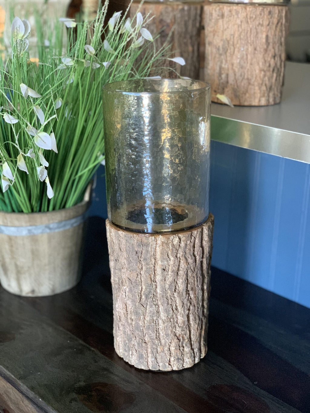 Log Hurricane Candle Holder