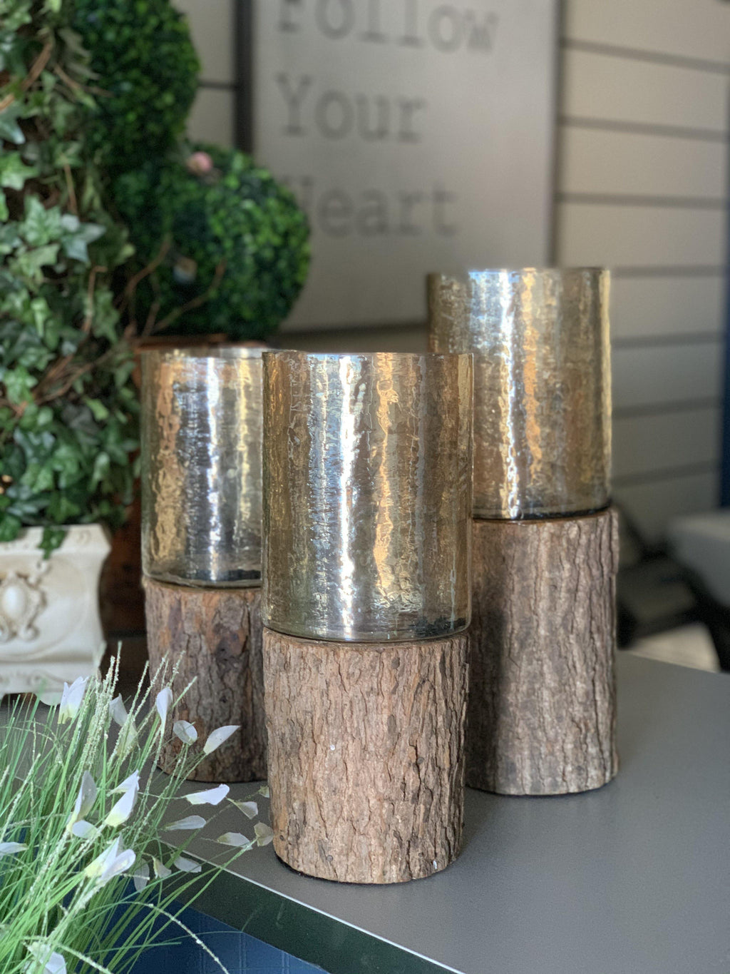 Log Hurricane Candle Holder (SET)