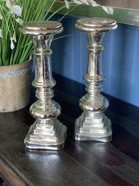 Silver Glass Candlestick (pair)