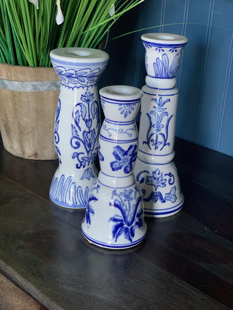 Blue and White Candlesticks (set)