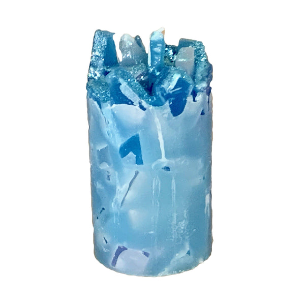 Blue Scented Pillar Candle (Misty Morning)