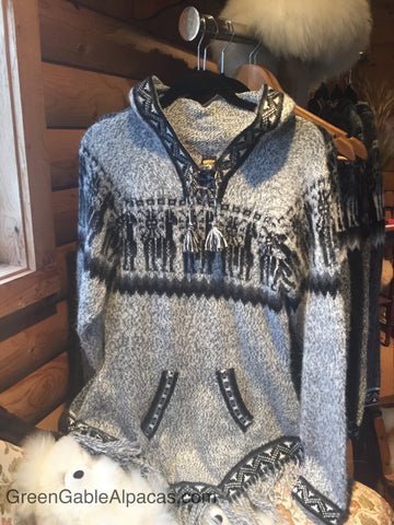 Alpaca Sweater - Andean Motif - Green Gable Alpacas
