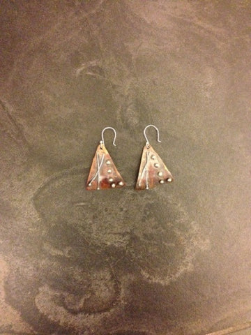 Copper and Sterling Silver Soldered  Earrings