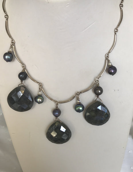 Labradorite Pearl Sterling Silver Necklace
