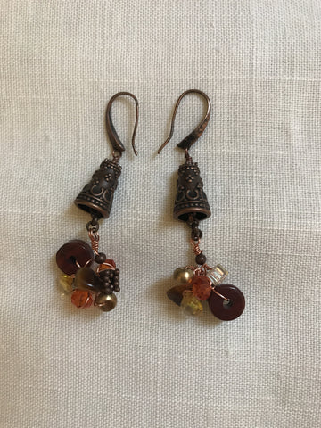 Copper Cone Pinch and Twist Gemstone Earrings