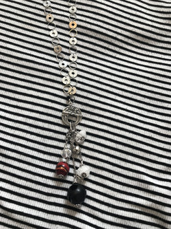Matt Black Onyx Lampwork Bead White Quartz and Chrystals on Rhodium Chain