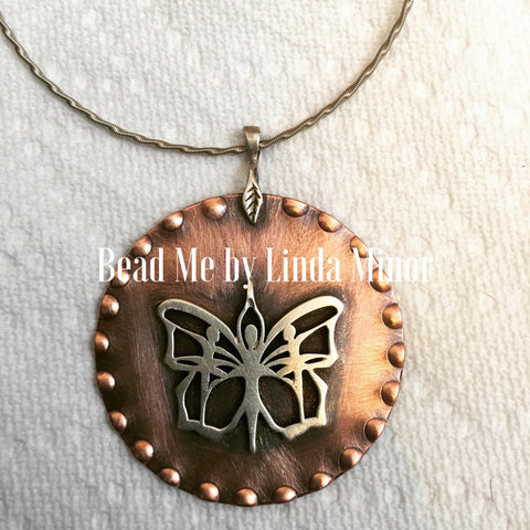 Copper Pendant with Sterling Silver Butterfly Necklace
