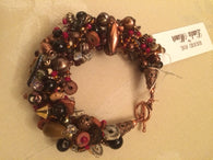 Copper Pinch and Twist Gemstone Bracelet.