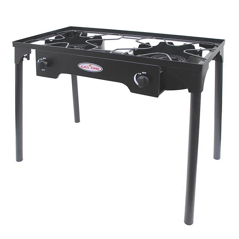 Double burner stove for camping and tailgating