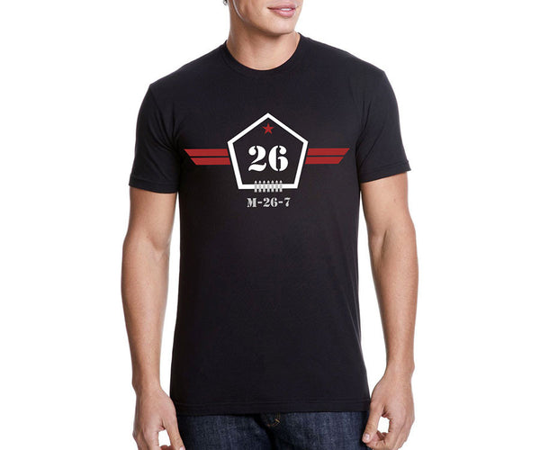 Che Guevara 26th of July Movement symbol short sleeve black T-shirt