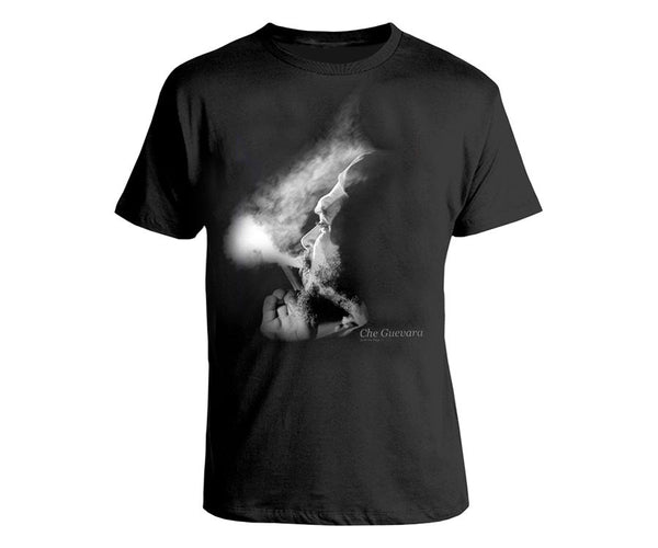 Che Guevara smoking photograph short sleeve black T-shirt