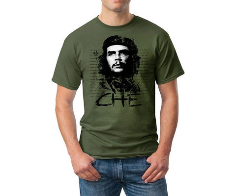 Che Guevara military green short sleeve-T shirt with face photagraph and quote