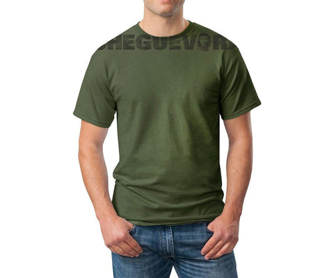 Che Guevara distressed chest print military green short-sleeve-T-shirt