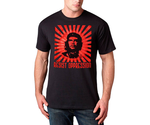 Che Guevara sunburst resist oppression short sleeve black T-shirt