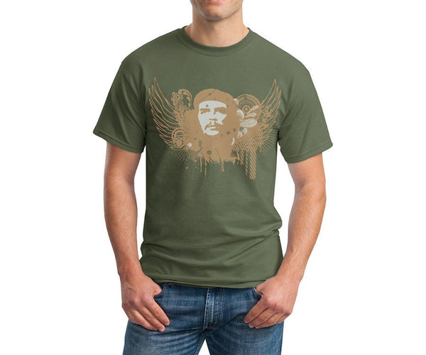 Che Guevara psychedelic wings short sleeve olive green T-shirt