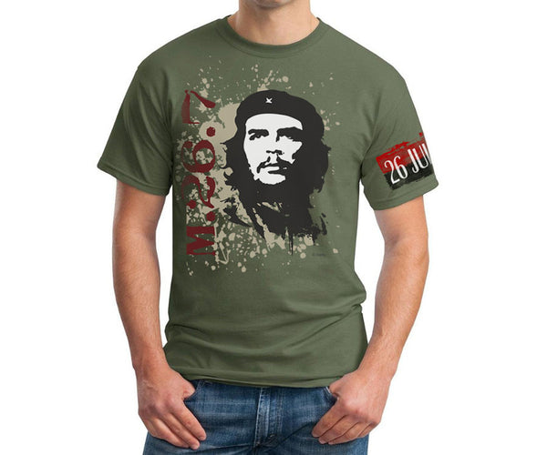 Che Guevara 26th of July Movement armband short sleeve military green T-shirt with classic Che image on splash backgroun