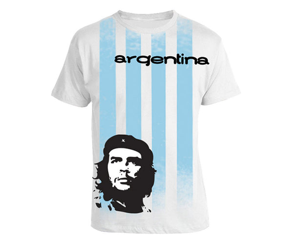 Che Guevara short sleeve white and blue striped Argentina football/soccer T-shirt