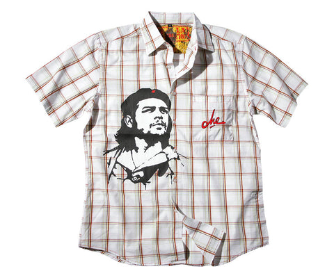 Che Guevara short sleeve checked white button club shirt