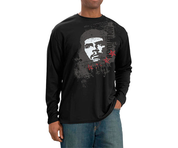 Che Guevara Revolution long sleeve black T-shirt with red stars