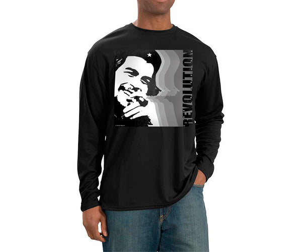 Che Guevara smoking cigar and Revolution long sleeve black T-shirt