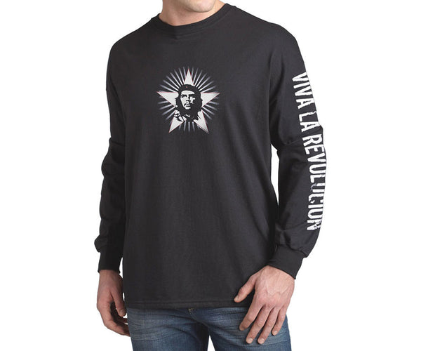 Che Guevara sunburst long sleeve black T-shirt with classic Che image on white star and Viva La Revolucion on left sleeve