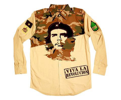 Che Guevara long sleeve, double-sided print, khaki button military shirt with camouflage upper half. Viva La Revolucion stamp, patches, and epaulets