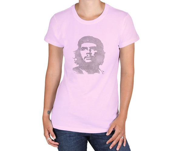 Women's Che Guevara short sleeve, pink, environmentally-friendly T-shirt with distressed classic Che image