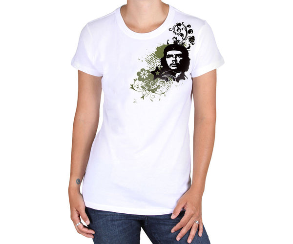 Women's Che Guevara short sleeve, white, environmentally-friendly T-shirt with classic Che image on flowing floral background on shoulder