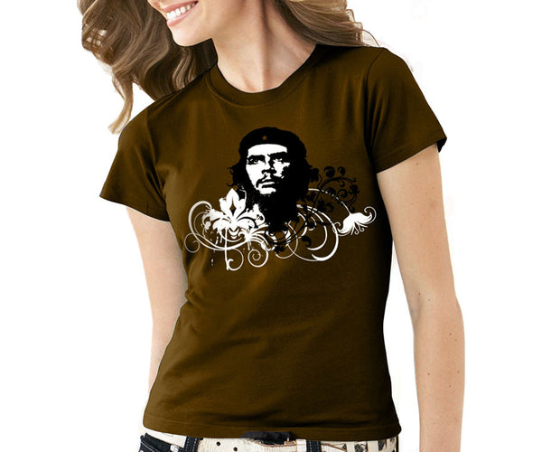 Women's Che Guevara short sleeve, chocolate, environmentally-friendly T-shirt with classic Che image on floral background