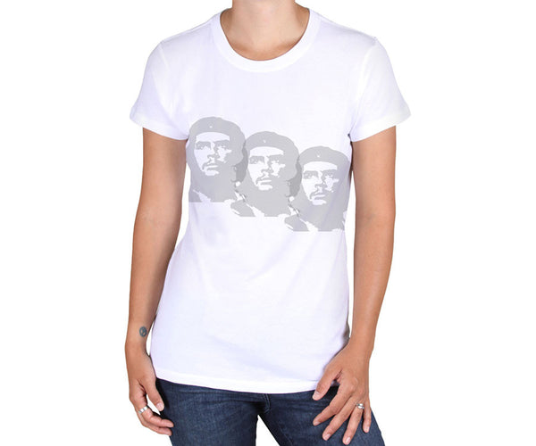 Women's Che Guevara short sleeve, white, environmentally-friendly T-shirt with lightly distressed classic Che image triplet