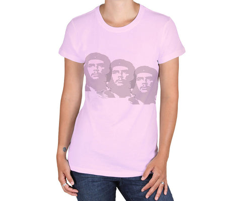 Women's Che Guevara short sleeve, light pink, environmentally-friendly T-shirt with lightly distressed classic Che image triplet
