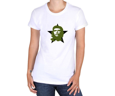 Women's Che Guevara short sleeve, white T-shirt with green and white classic Che image on black star