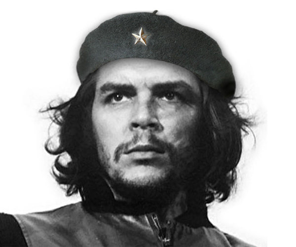 Handmade replica Che Guevara, Basque-style, wool military beret with silver metal star and tip on top