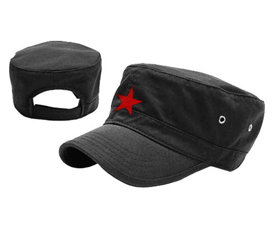 Che Guevara black military cap / hat with embroidered red star, adjustable Velcro closure, and air holes