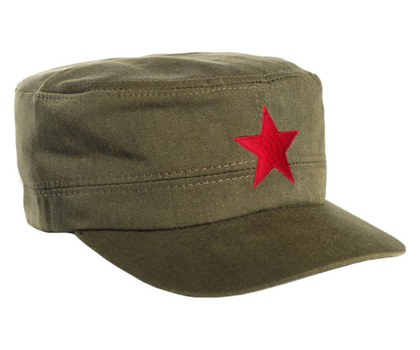 Che Guevara army green military cap / hat with embroidered red star and adjustable Velcro closure
