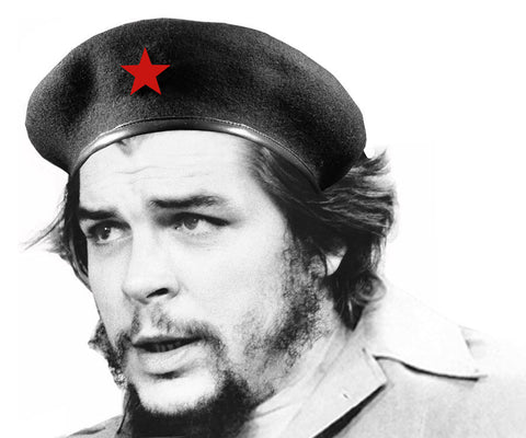 Che Guevara black Cuban style military beret with embroidered red star