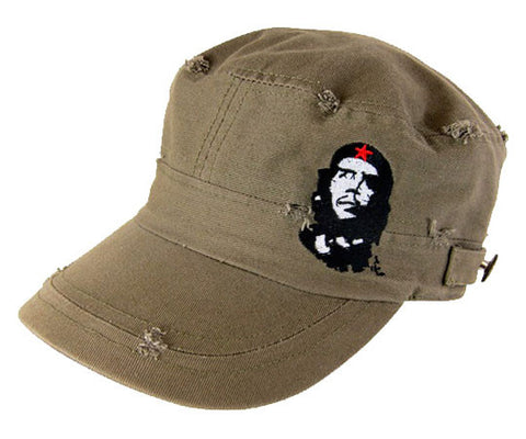 Che Guevara military green, distressed, cotton military hat with visor, classic Che image on front left, side buttons, and embroidered red star on back