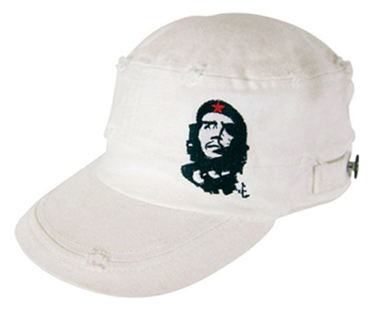 Che Guevara white, distressed, cotton military hat with visor, classic Che image on front left, side buttons, and embroidered red star on back