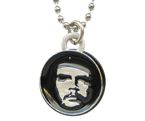 Che Guevara round metal necklace with black and silver classic Che image pendant
