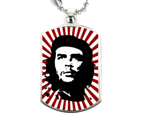 Che Guevara fashion necklace with black and white classic Che image on starburst background pendant