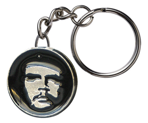 Che Guevara metal key chain / key ring with round, black and silver classic Che image pendant