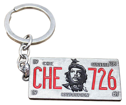 Che Guevara metal key chain / key ring with classic Che image, 26th of July, Che date of birth and death, and Revolucion, double-sided license plate pendant