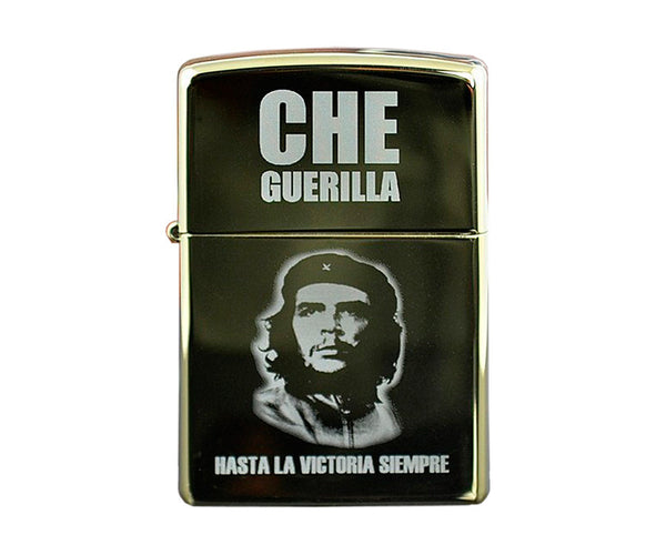 Che Guevara grey, polished chrome-plated metal, Zippo-style lighter with glowing grey classic Che image, Hasta La Victoria Siempre, and Che Guerilla