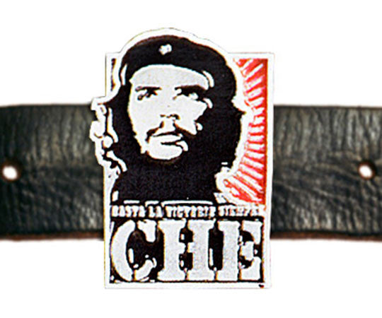 Che Guevara silver, metal belt buckle with black and silver classic Che image on red sunburst, Hasta La Victoria Siempre, and Che