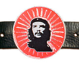 Che Guevara round, silver, metal belt buckle with black and silver classic Che image on red sunburst