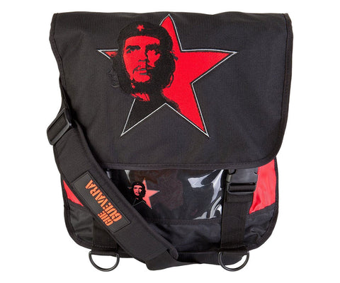Che Guevara black and red, nylon courier / messenger / shoulder bag with black and red classic Che image on red star, and red star on back