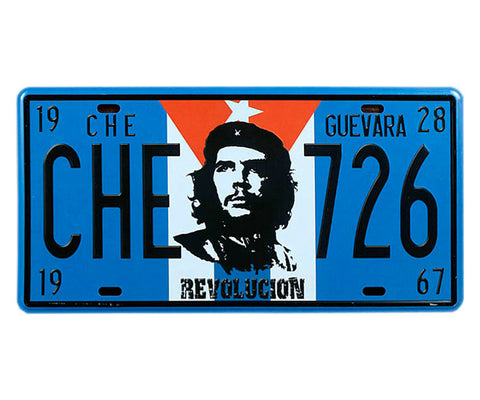 Che Guevara blue, 26th of July (726) license plate with black and white Che image on Cuban flag,  Che year of birth (1928) and death (1967), and Revolucion