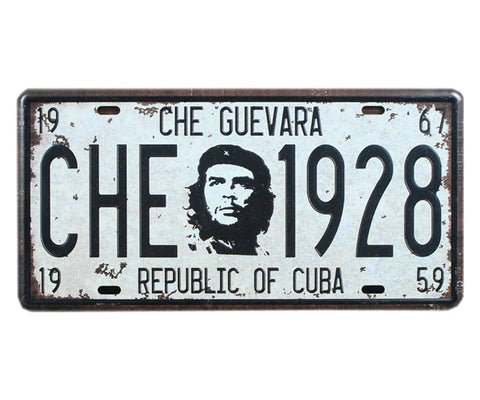 Che Guevara white, Republic of Cuba license plate with black and white Che image, Che year of birth (1928) and death (1967), and year of Cuban Revolution (1959)