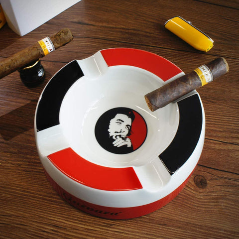 Che Guevara Ceramic Cigar Ashtray - Luxury 4 cigar rests Deep Bowl - Free Shipping