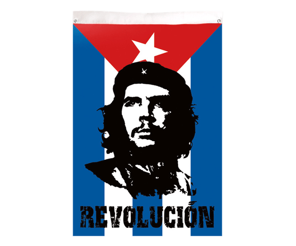 Che Guevara 3' x 5' fabric / textile Cuban flag with black and red classic Che image above Revolución, and brass eyelets
